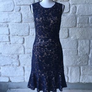 Eliza J Blue & Nude Lace Sleeveless Dress 6